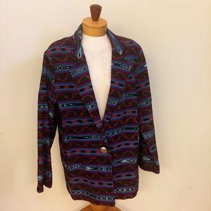 Neiman Marcus Vintage Aztec Print Cotton Coat L-XL